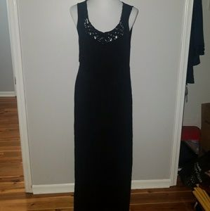 SOLD-Black maxi dress with fringe